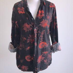 H&M floral button down blouse long sleeve shirt
